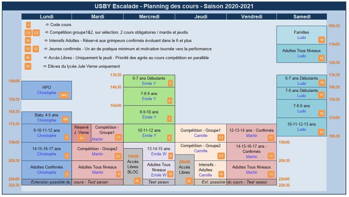 Planning des cours de l'Usby Escalade